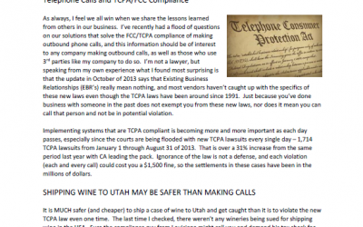 Calling customers to sell Wine – TCPA Compliance